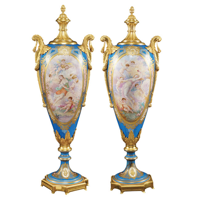 PAIR OF SEVRÈS PORCELAIN VASES