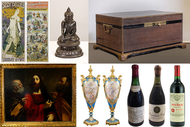 Oriental Antiques, Antique Paintings and Clocks, Advertising Posters, Wines, Spirits and Champagne